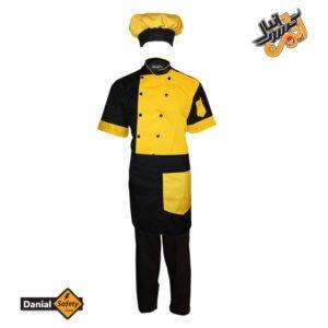 لباس کار آشپزی مدل چهار تکه Chef رنگ مشکی زرد