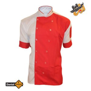 لباس کار آشپزی مدل Chef رنگ سفید قرمز