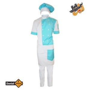 لباس کار آشپزی مدل چهار تکه Chef رنگ سفید آبی