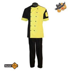 لباس کار آشپزی مدل چهار تکه Chef رنگ مشکی لیمویی