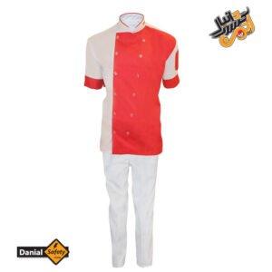 لباس کار آشپزی مدل چهار تکه Chef رنگ سفید قرمز