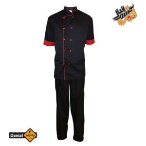 لباس کار آشپزی مدل چهار تکه Chef رنگ مشکی قرمز