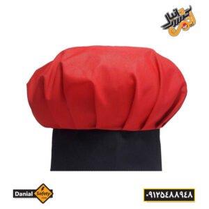 کلاه آشپزی رنگ قرمز مشکی
