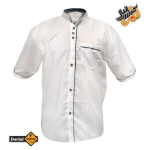 لباس کار آشپزی مدل سه دکمه رنگ سفید آستین کوتاه