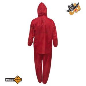لباس کار بادگیر و شلوار شمعی پشت لاستیک ضد آب قرمز