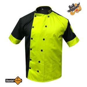 لباس کار آشپزی مدل سه تکه Chef رنگ مشکی_فسفری