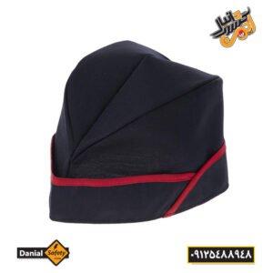 کلاه آشپزی قایقی سرمه ای نوار قرمز